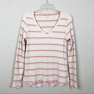 American Eagle Thermal Long sleeve Striped Top